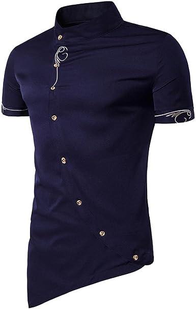 Camiseta para Hombre, RETUROM Camisa de Botones de los Hombres Ocasionales Camisa de Cuello de los Hombres de mandarín Camisas de Esmoquin: Amazon.es: Ropa y accesorios