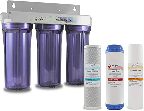 MAX Water - Filtro de Agua de manganeso de Hierro, 3 etapas, 25,4 ...