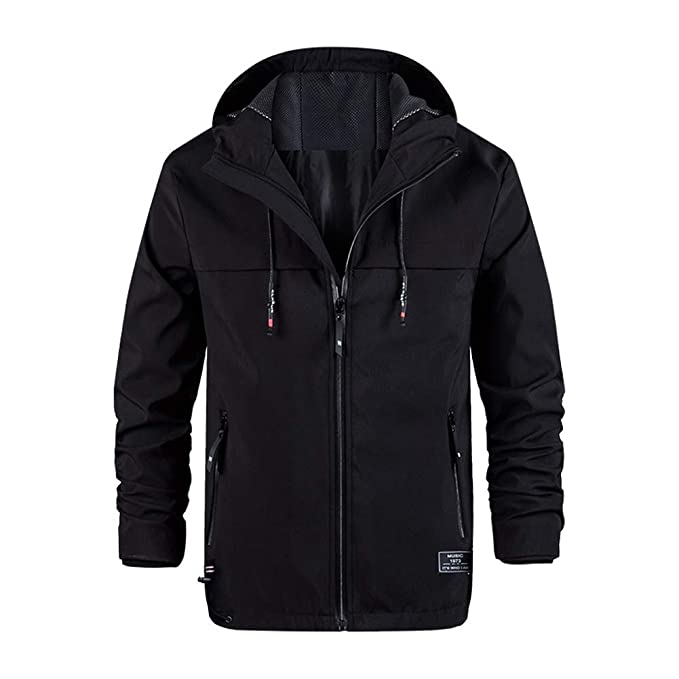 88267aad2 Men Winter Warm Windbreaker Zip up Ski Windproof Hooed Jacket Coat Outwear  by Lowprofile Black