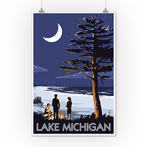 Lake-Michigan-Bonfire-at-Night-Scene-12x18-Art-Print-Wall-Decor-Travel-Poster