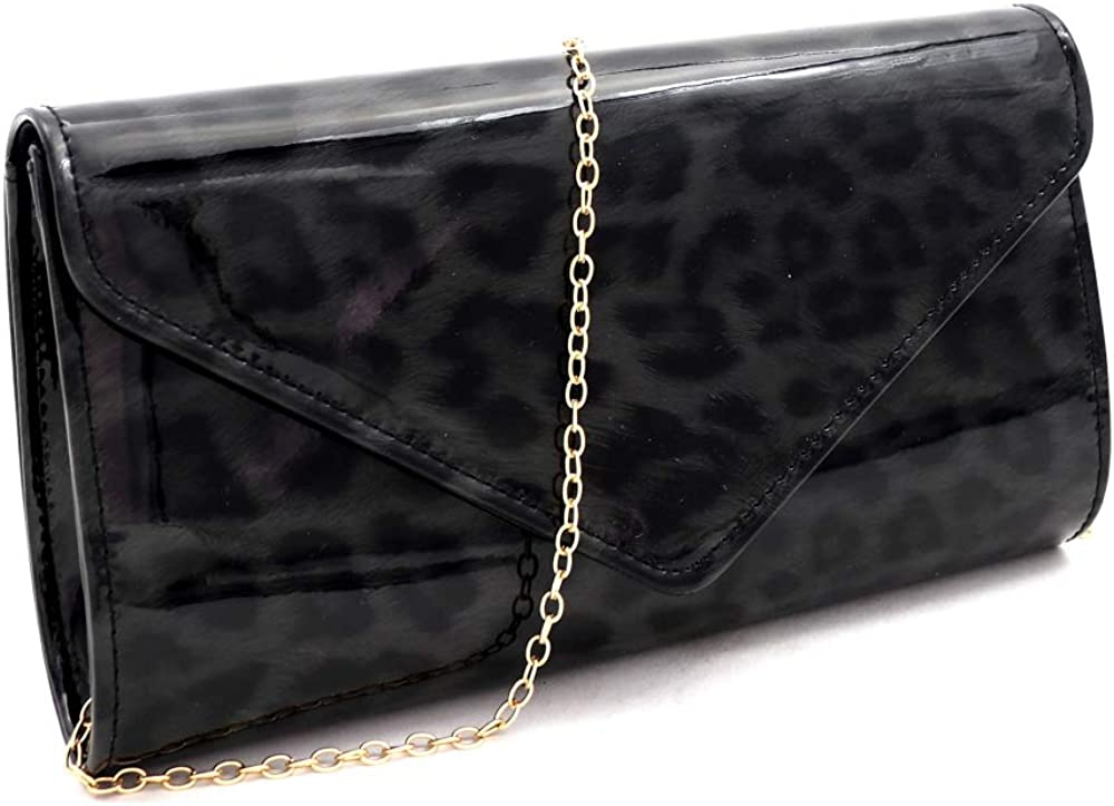 Leopard Print Glossy Faux Leather Clutch Purse Shoulder Bag with Chain Strap