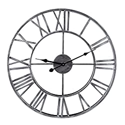 Round Wall Clock, XSHION 20 Inch Metal Vintage Handmade Retro Roman Numerals Iron Wall Clocks Large Decorative Wall Clocks for Office / Kitchen / Bedroom / Living Room / School