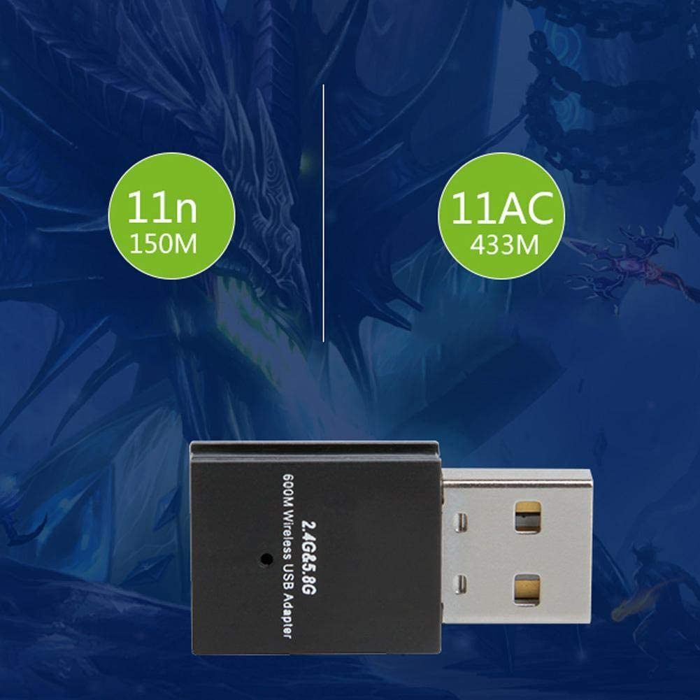 Wendry Network Card,W58L 600M Wireless Network Card,2.4G//5.8G Dual-Band Wireless Network Card,Black WiFi Transmitter,433M Maximum Speed