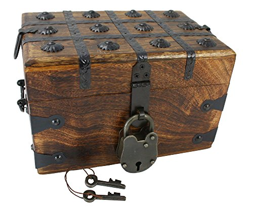 - Well Pack Box Medium Authentic Wooden Pirate Treasure Chest Includes Antique Strong Iron Lock With 2 Skeleton Keys Great For Parties, Halloween, Holidays and Birthdays