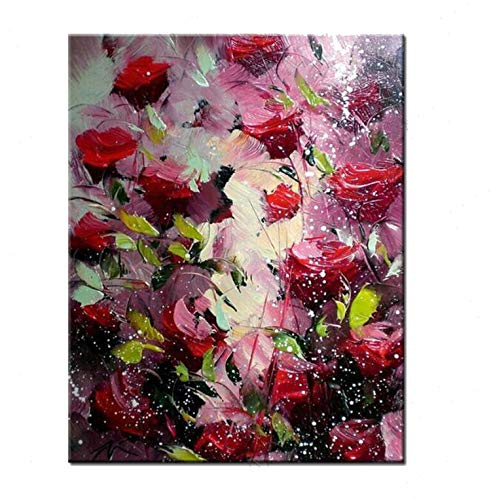 - Big 100% Hand Painted Floral Purple Abstract Oil Painting Modern Wall Art Living Room No Frame Picture Home Decoration Painting,70Cmx90Cm,No Framework