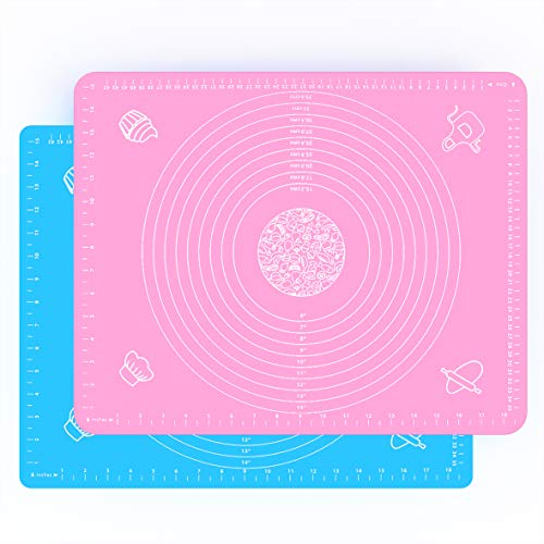"""YAWA 2PCS Large Silicone Baking mats, Pastry Mats 19.7""""×15.8"""" with Measurements, Non-Slip & Non-stick Stain Resistant, Placemats, Food-Grade Silicone mats, The best helper when baking"""