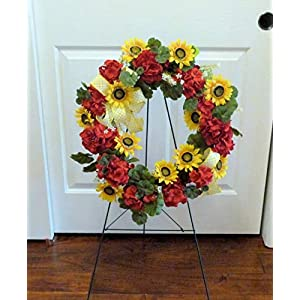 Spring Cemetery Wreath, Summer Cemetery Wreath, Graveside Wreaths, Wreath with Sunflowers 116