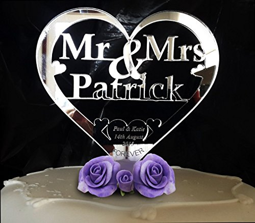 Custom Heart Shape Mr and Mrs Personalized Last Name Bride and Groom Name Wedding Date Forever Wedding Cake Toppers ()