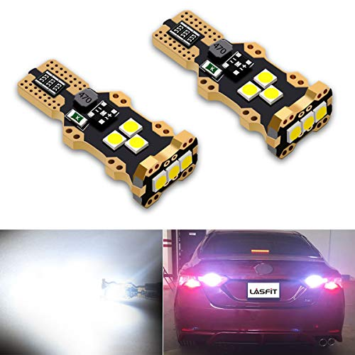 LASFIT 912 921 T15 LED Reverse Backup Light Bulb 1400 Lumens Extremely Bright Use for 2018-1997 Toyota Camry, Plug&Play, Xenon White (Pack of 2)