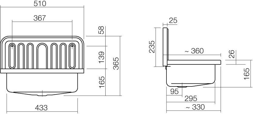 color blanco Fregadero de vaciado Alape AG.Stahlform510/Ü 12060000