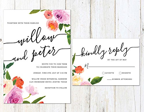 Spring Wedding Invitation, Watercolor Floral Wedding Invitation, Colorful Flowers Invite by Alexa Nelson Prints