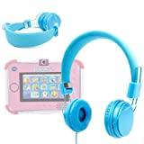 DURAGADGET Blue Ultra-Stylish Kids Fashion Headphones With Padded Design, Button Remote And Microphone Compatible With VTech Innotab 3, VTech Innotab 3S