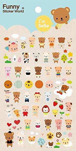 Kawaii Bebe Bear Epoxy Stickers, 2 Sheets, (Funny Sticker World)