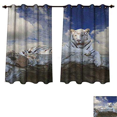 Price comparison product image PriceTextile Tiger Blackout Thermal Curtain Panel Bengal Hunter Surveying What is Beneath It from Top White Large Feline Patterned Drape for Glass Door Eggshell Sky Blue White Size W72 xL45