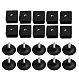 BQLZR 40mmx40mm M8 Thread Black Plastic Furniture Leg Plug Blanking End Caps Insert Plugs with Adjust Thread Feet for Square Pipe Tube Pack of 10