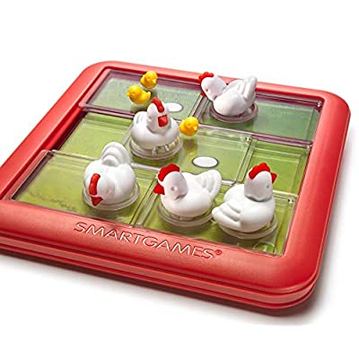 SmartGames Chicken Shuffle Jr. Travel Game for Kids, A Cognitive Skill-Building Brain Game - Brain Teaser for Ages 4 & Up, 48 Challenges: Toys & Games