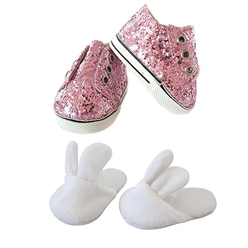 18 Inch Doll Shoes,2 Pair Girls Doll Shoes-Easter Bunny Slip