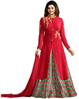 Stylish Fashion Prachi Desai Red Embroidered Designer Indo Western style Party Wear Suit