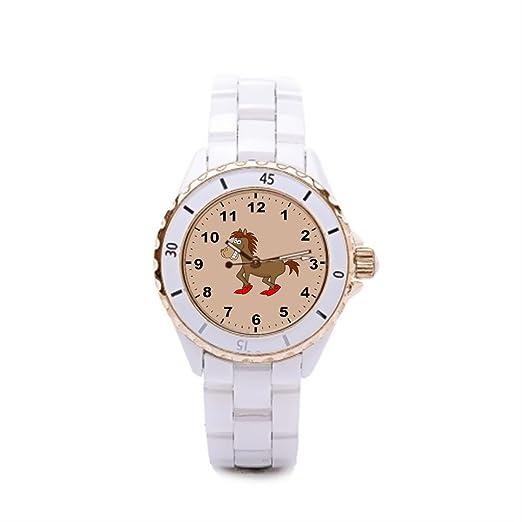 Queensland de cerámica reloj para mujer Retro marca relojes para las niñas: Amazon.es: Relojes