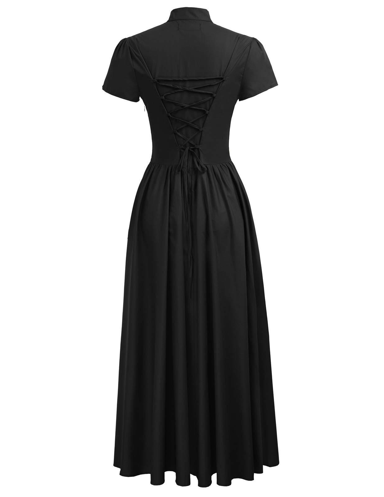 Women Victorian Vintage Steampunk Short Sleeve V-Neck Long Dress 5