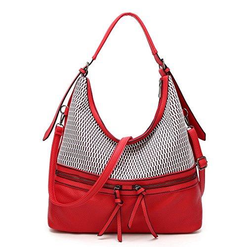 AllhqFashion Women's Bolsas de Hombro Escapadas de Fin de Semana Bolsos Cruzados Rojo