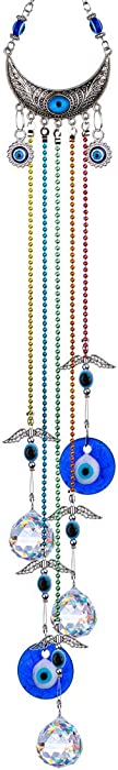 YU FENG 20inch Blue Evil Eye Hanging Crystals Suncatcher Ornament with Chakra Energy Crystal Ball Prism Pendant Rainbow Maker for Home Decor Protection