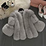 iYYVV Women Winter Warm Fashion Solid Jackets Short Stitching Button Faux Fur Coat