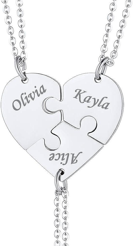 Custom4U Personalizado Collar de Rompecabezas Plata de Ley 925 Acero Inoxidable Colgantes con Nombres Personalizables Joyería de Amor y Amistad Corazón Triángulo Roto de 2/3/4/5/6/7/8 Piezas