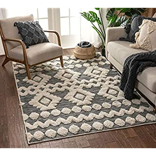 "Well Woven Cenar Grey Flat-Weave Hi-Low Pile Diamond Medallion Stripes Moroccan Tribal Area Rug 8x10 (7'10"" x 9'10"")"