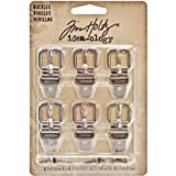 Metal Buckles by Tim Holtz Idea-ology, Set of 6 Buckles and Fasteners, Assorted Finishes, TH93064