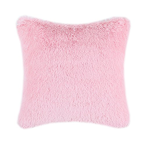 CaliTime Super Soft Throw Pillow Cover Case for Couch Sofa Bed Solid Plush Faux Fur 18 X 18 Inches Baby Pink -