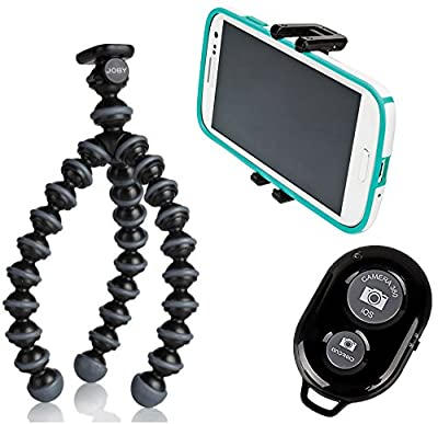 JOBY Gorillapod Flexible Tripod (Black/Charcoal) and a JOBY GRIPTIGHT Mount Adapter works for iPhone 7, 7 Plus, 6, 6 Plus, 5, 5s, HTC One, Galaxy S4, S5, S6, S7, Nokia Lumia 830, 735, 635, 520, Amazon Fire Phone and a Bonus Bluetooth Wireless Remote Contr