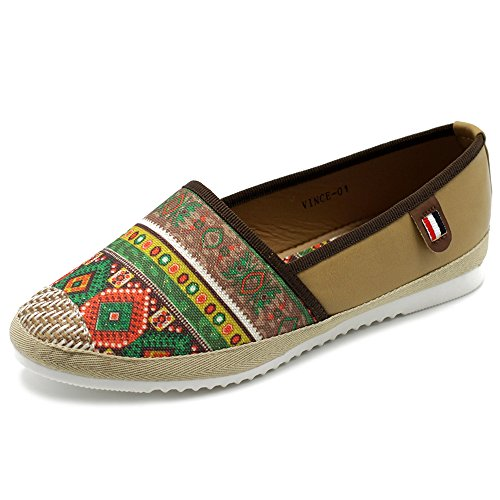 Ollio Womens Shoes Slip On Ethnic Floral Tribal Sneaker Canvas Flats VINCE01 (6.5 B(M) US, Brown)