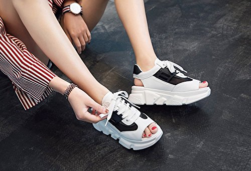 Microfiber Comfort Peep Casual Black Platform Shoes Sandals C Breathable Pink HUAN Summer Women's Walking Shoes Toe for White IxwOSAqEU