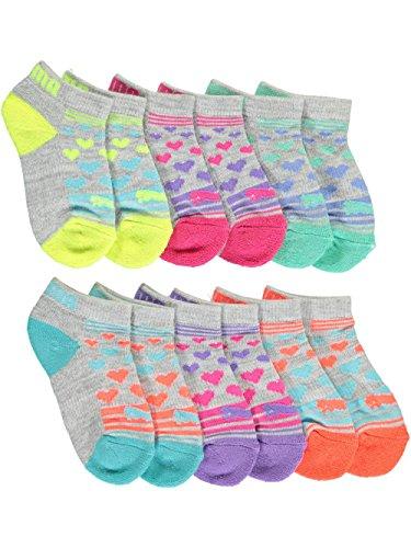 Low Cut Girls Socks - PUMA Big Girls' 6 Pack Low Cut Socks, Grey/Pink, 9-11