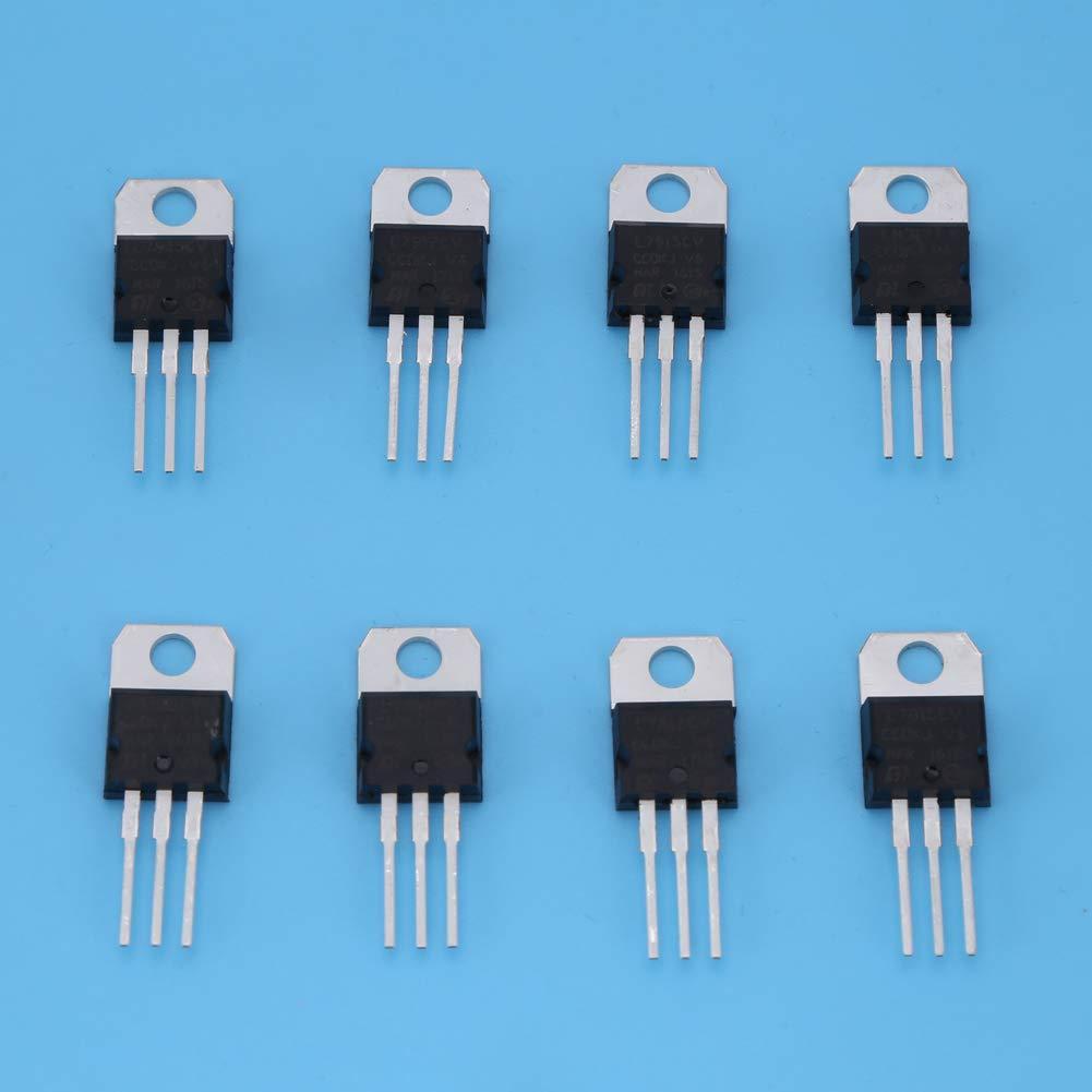 7805 7809 7812 7815 7905 7912 7915 LM317 40pcs 8 Types Transistor Assortment Triode Voltage Regulator Stabilizer Kit Set