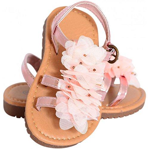 Kleinkinder Mädchen Babys Kids Fuchsia Pink Florale-Riemchen-Sandalen Flip Flops Pumpen Gladiatoren Größe 4-12 UK8/US9/EURO25