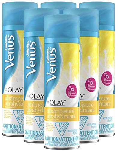 Gillette Venus with Olay UltraMoisture Vanilla Cashmere Shave Gel, 6 Ounce, Pack of 6