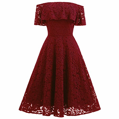 Autumn Lace Hollow Out Slim Party Dresses(Red) - 8
