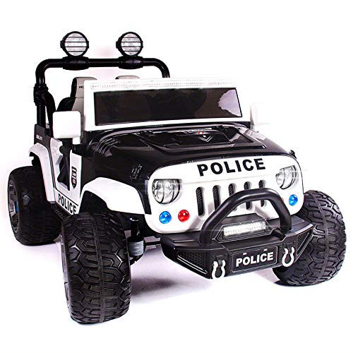 - Explorer 2 (Two) Seater 12V Power Children Ride-On Car Truck with R/C Parental Remote + EVA Rubber LED Wheels + Leather Seat + MP3 Music Player Bluetooth FM Radio + LED Lights (Police Car)
