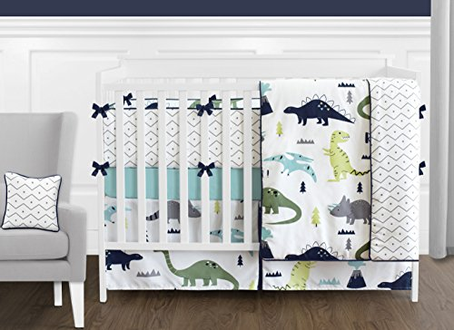 Navy Blue and Green Modern Dinosaur Baby Boys or Girls 9 Piece Crib Bedding Set with Bumper