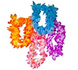 100 Piece Assorted Fabric Hawaiian Flower Leis, Headband, Wristlet Hula Mega Pack
