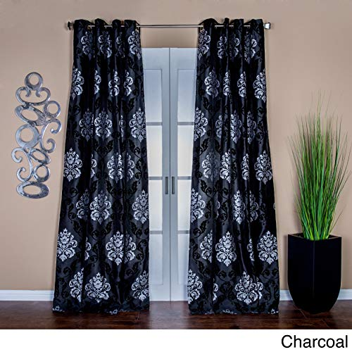 Cheap Lambrequin Arabella 84 in. L Flocked Curtain Panel – 54 x 84 Black