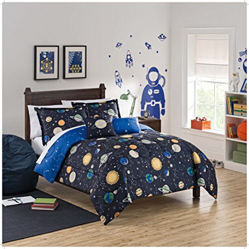 WAVERLY Kids Space Adventure Reversible Bedding Collection, Twin, Multicolor (Space Twin Comforter)