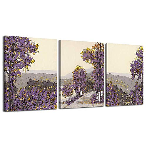 LKY ART Wall Decorations for Living Room Birch Trees Picture Painting,Modern Nature Artwork Plants Wall Decor Artwork on Canvas Branch 3 Panel Modern Nature Landscape Poster Ready to Hang (Decor Wall Painting)