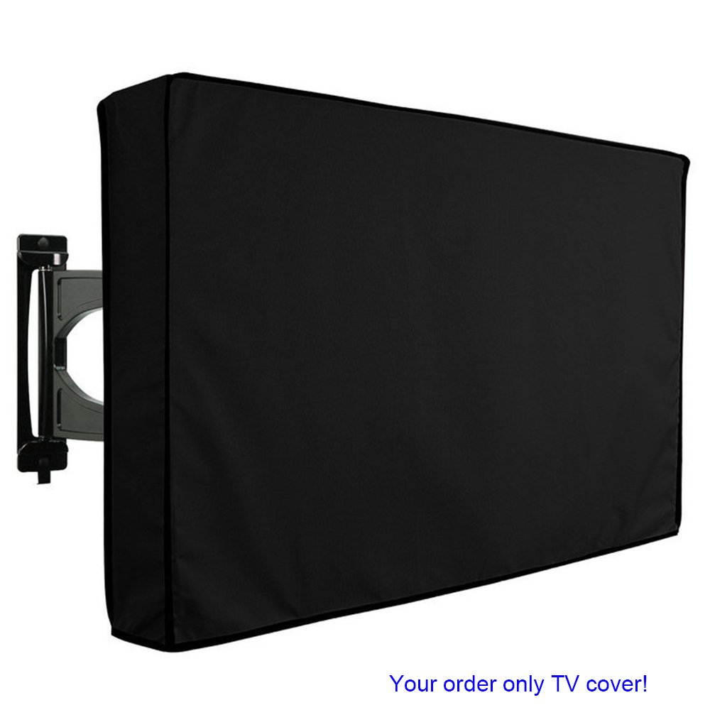 Outdoor TV Cover 40'' - 42'' with Scratch Resistant Liner, Bottom Seal Design, Black Weatherproof/Dust-Proof Material, Protector for LCD/LED/3D/ Plasma Television Sets, Built in Remote Controller Bag by CooLux
