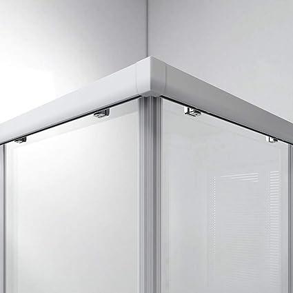 Cabina de ducha Safeni para esquina, puerta corredera, mampara de ducha doble, puerta corredera, puerta de ducha, sin plato de ducha: Amazon.es: Bricolaje y herramientas