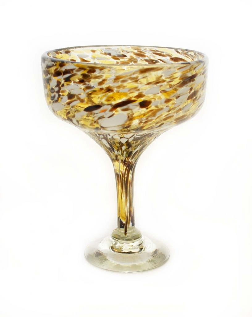 SET OF 4, CHOCOLATE & WHITE SPOTS CONFETTI MARGARITA GLASSES-16 OUNCES-RECYCLED GLASS