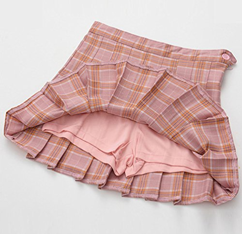 Plaid Pliss Patineuse Femme Jupe Heheja Jupes Fille Court Pink Taille Kilt vas Mini Tartan Ecossais Haute q0U7n0H