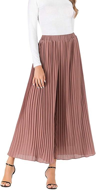 Pantalón Plisada Baggy Pantalones para Mujer, Falda Plisada ...
